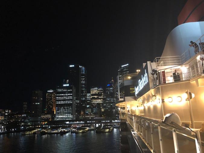 Ship and city at night