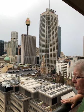 Sydney view from balcony aidina apartment hotel city hall